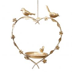 Gold Hanging Heart Bird Dish