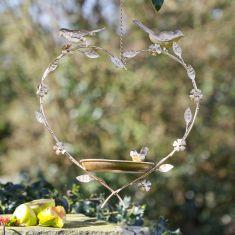 Gold Hanging Heart Bird Dish