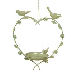Sage Green Hanging Heart Bird Dish