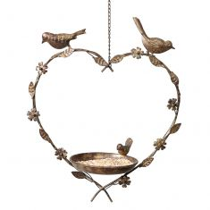 Brass Hanging Heart Bird Dish
