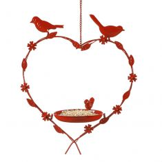 Winter Robin Red Hanging Heart Bird Dish