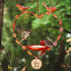 Personalised Red Hanging Heart Bird Dish