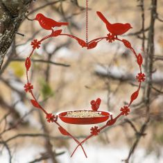 Winter Robin Red Hanging Heart Bird Dish