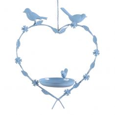 Summer Blue Hanging Heart Bird Feeder