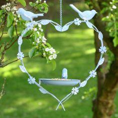 Summer Blue Hanging Heart Bird Feeder