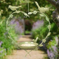 Sage Green Hanging Heart Bird Dish