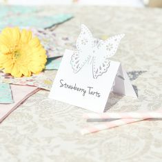 Set of 10 Ivory Butterfly Name Place Cards