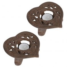 Pair of Iron Heart Tealight Candle Holders