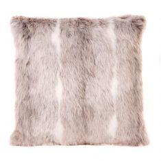 Snow Lynx Faux Fur Cushion