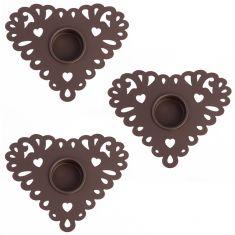 Set of 3 Alfresco Heart Tea Light Holders