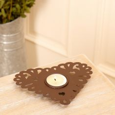 Set of 6 Heart Shaped Tealight Candle Holders