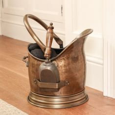 Antique Style Brass Coal Bucket and Shovel