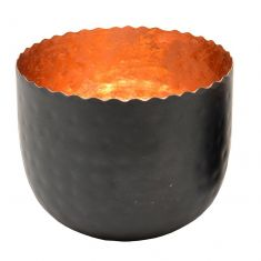 Large Copper & Black Tealight Holder
