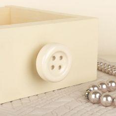 Cream Ceramic Button Drawer Knob