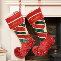 Velvet Elf Boot Personalised Christmas Stocking