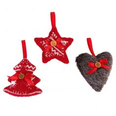 Set of 3 Traditional Nordic Christmas Tree Decorations