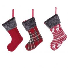 Set of 3 Mini Red Fairisle Christmas Stockings