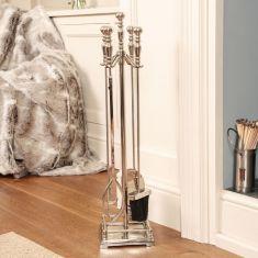 Nickel Fireside Tool Set