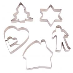 Set of 5 Stainless Steel Cookie Cutters