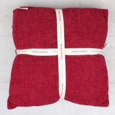 Chilli Red Chenille Throw and Cushion Set