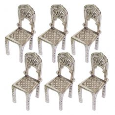 Set of 6 Silver Chair Place Card Holders