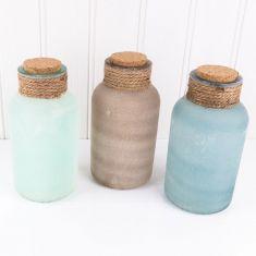Set of 3 Sand Effect Decorative Jars