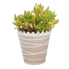 Taupe Grey Metal Plant Pot