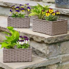 Set of 3 Rattan Garden Planter Baskets