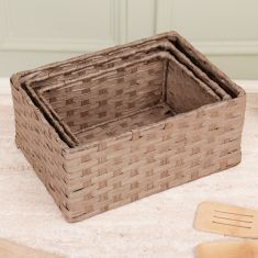 Set of 3 Woven Nested Home Storage Baskets